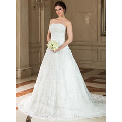 Chic Strapless A-Line/Princess Wedding Dresses Chapel Train Satin Lace Sleeveless (002196832)