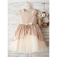 A-Line/Princess Knee-length Flower Girl Dress - Tulle/Sequined Sleeveless Scoop Neck With Bow(s)