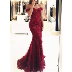 Trumpet/Mermaid Sweep Train Evening Dresses Off-the-Shoulder Tulle Lace Sleeveless (017146219)