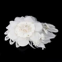"Combs & Barrettes Wedding Imitation Pearls/Feather/Lace/Chiffon 7.48""(Approx.19cm) 5.91""(Approx.15cm) Headpieces"