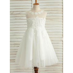 A-Line/Princess Scoop Neck Knee-length With Appliques Satin/Tulle Flower Girl Dresses (010212071)