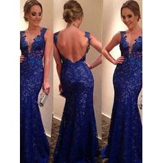 Trumpet/Mermaid V-neck Floor-Length Evening Dresses With Appliques Lace