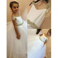 Ball Gown Straps Floor-length With Beading Satin/Tulle Flower Girl Dresses