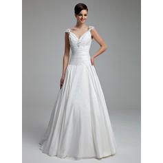 A-Line/Princess Sweetheart Floor-Length Wedding Dresses With Ruffle Beading Appliques Lace (002211330)