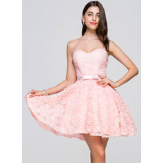 A-Line/Princess Sweetheart Short/Mini Homecoming Dresses With Bow(s)