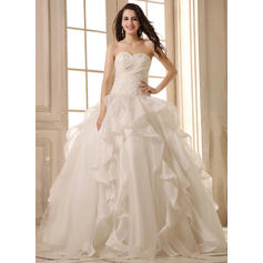Ball-Gown Sweetheart Floor-Length Wedding Dresses With Beading Appliques Lace Cascading Ruffles