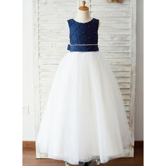 A-Line Floor-length Flower Girl Dress - Taffeta/Tulle Sleeveless Scoop Neck With Sash