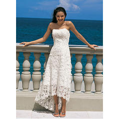 A-Line/Princess Lace Sleeveless Strapless Asymmetrical Wedding Dresses (002144598)