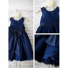 A-Line/Princess Scoop Neck Ankle-length With Bow(s) Lace Flower Girl Dresses (010211857)