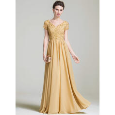 A-Line/Princess V-neck Floor-Length Chiffon Mother of the Bride Dress With Beading Appliques Lace Sequins
