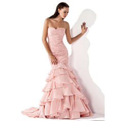 Trumpet/Mermaid Sweetheart Sweep Train Evening Dresses With Cascading Ruffles