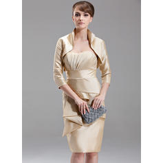 Sheath/Column Sweetheart Knee-Length Mother of the Bride Dresses With Cascading Ruffles (008006232)