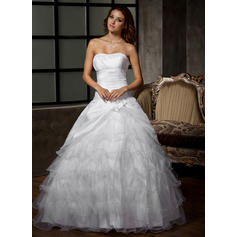 Ball-Gown Sweetheart Floor-Length Wedding Dresses With Flower(s) Cascading Ruffles (002196863)