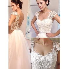 A-Line/Princess Sweetheart Sweep Train Wedding Dresses With Beading