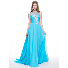 A-Line/Princess Chiffon Prom Dresses Ruffle Beading Appliques Lace Sequins Scoop Neck Sleeveless Sweep Train (018056773)