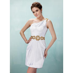 Sheath/Column One-Shoulder Short/Mini Charmeuse Cocktail Dresses With Ruffle Beading Sequins (016021246)