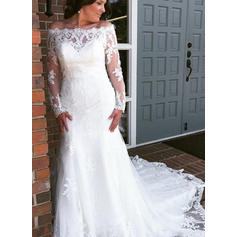 Trumpet/Mermaid Tulle Lace Long Sleeves Off-The-Shoulder Cathedral Train Wedding Dresses