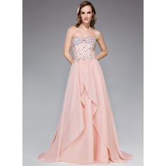 A-Line/Princess Sweetheart Sweep Train Prom Dresses With Beading Sequins Cascading Ruffles (018210549)