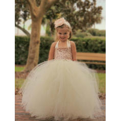 Newest Halter Ball Gown Flower Girl Dresses Floor-length Tulle/Sequined Sleeveless (010145221)
