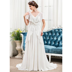 A-Line/Princess Sweetheart Sweep Train Wedding Dresses With Beading Appliques Lace Flower(s) Sequins Bow(s) (002210579)