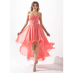 A-Line/Princess Sweetheart Asymmetrical Homecoming Dresses With Ruffle Beading (022212952)