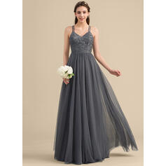 A-Line/Princess Sweetheart Floor-Length Tulle Lace Bridesmaid Dress With Beading Sequins