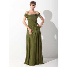 A-Line/Princess Chiffon Sleeveless Off-the-Shoulder Sweep Train Zipper Up Covered Button Mother of the Bride Dresses (008211387)