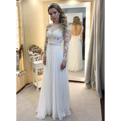A-Line/Princess Chiffon Long Sleeves Scoop Floor-Length Wedding Dresses (002144812)