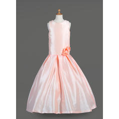 Glamorous Scoop Neck A-Line/Princess Flower Girl Dresses Floor-length Taffeta Sleeveless