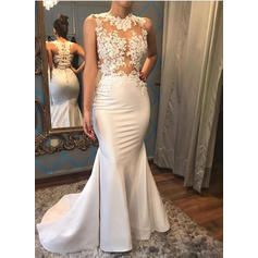 Trumpet/Mermaid Satin Sleeveless Scoop Court Train Wedding Dresses