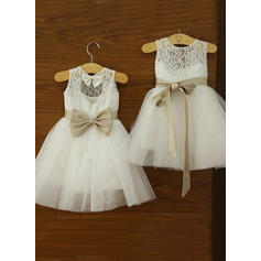 Newest Scoop Neck A-Line/Princess Flower Girl Dresses Knee-length Tulle/Lace Sleeveless