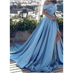A-Line/Princess Court Train Prom Dresses Off-the-Shoulder Satin Sleeveless