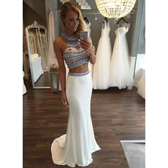 Trumpet/Mermaid Sweep Train Prom Dresses Scoop Neck Jersey Sleeveless