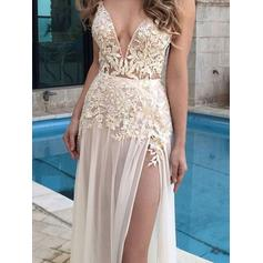 A-Line/Princess Chiffon Prom Dresses Appliques Lace V-neck Sleeveless Floor-Length (018210268)