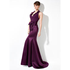 Trumpet/Mermaid Chiffon Satin Bridesmaid Dresses Bow(s) Cascading Ruffles Halter Sleeveless Sweep Train (007004275)