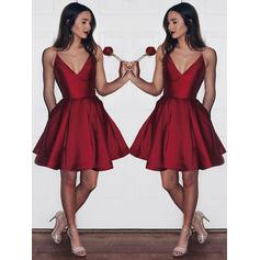 A-Line/Princess V-neck Knee-Length Satin Cocktail Dresses With Ruffle