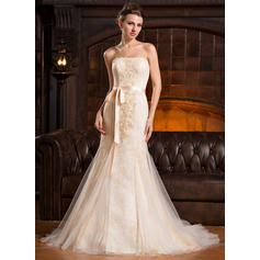 Stunning Strapless Trumpet/Mermaid Wedding Dresses Court Train Tulle Lace Sleeveless (002210576)