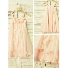 A-Line/Princess Scoop Neck Tea-length With Ruffles Chiffon Flower Girl Dresses