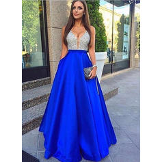 A-Line/Princess Floor-Length Prom Dresses V-neck Satin Sleeveless (018146531)