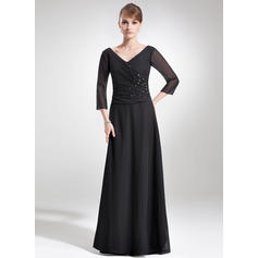 A-Line/Princess Chiffon 1/2 Sleeves V-neck Floor-Length Zipper Up Mother of the Bride Dresses