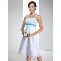 Empire Strapless Knee-Length Wedding Dresses With Sash Beading Sequins Bow(s) (002000020)