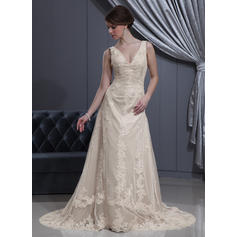 cheap lace wedding dresses without train