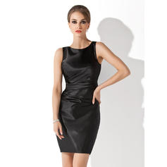 Sheath/Column Charmeuse Sleeveless Scoop Neck Short/Mini Zipper Up Mother of the Bride Dresses (008210419)