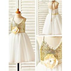 A-Line/Princess Halter Knee-length With Flower(s) Tulle/Sequined Flower Girl Dresses (010211958)