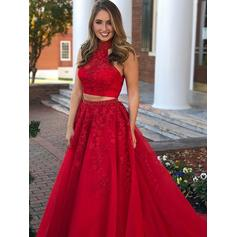 Ball-Gown Tulle Prom Dresses Lace Beading Scoop Neck Sleeveless Floor-Length