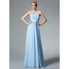Empire Chiffon Bridesmaid Dresses Ruffle Strapless Sleeveless Floor-Length (007000840)