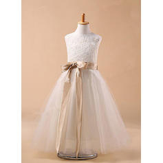 Ball Gown Scoop Neck Ankle-length With Sash/Bow(s) Tulle Flower Girl Dresses