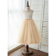 A-Line/Princess Tea-length Flower Girl Dress - Tulle/Lace Sleeveless Scoop Neck With Lace