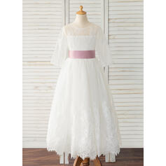A-Line Ankle-length Flower Girl Dress - Satin/Tulle/Lace Long Sleeves Scoop Neck With Sash (Detachable sash)