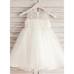 A-Line/Princess Knee-length Flower Girl Dress - Organza/Satin/Tulle/Cotton Sleeveless Scoop Neck With Appliques